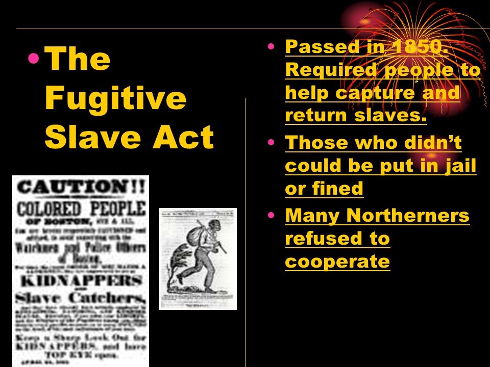 Passed in 1850. Required people to help capture and return slaves.