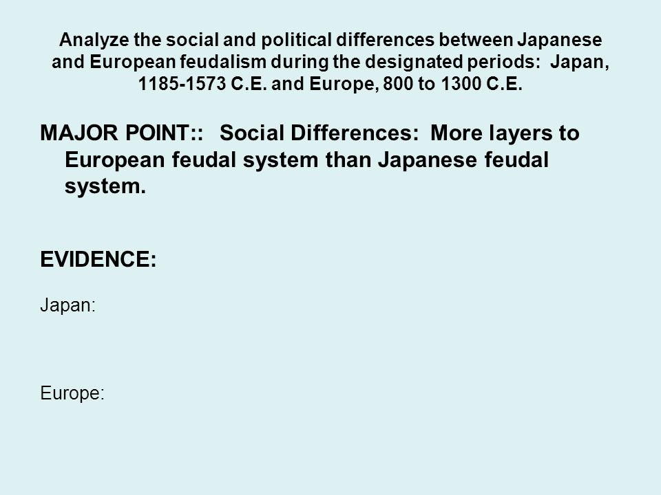 Analyze the social and political differences between Japanese and European feudalism during the designated periods: Japan, C.E. and Europe, 800 to 1300 C.E.
