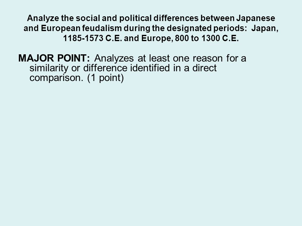 Analyze the social and political differences between Japanese and European feudalism during the designated periods: Japan, 1185-1573 C.E. and Europe, 800 to 1300 C.E.