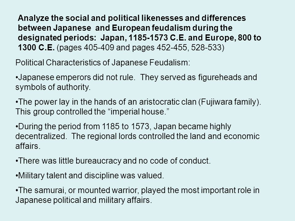 comparative essay midterm review ppt video online  analyze the social and political likenesses and differences between ese and european feudalism during the designated