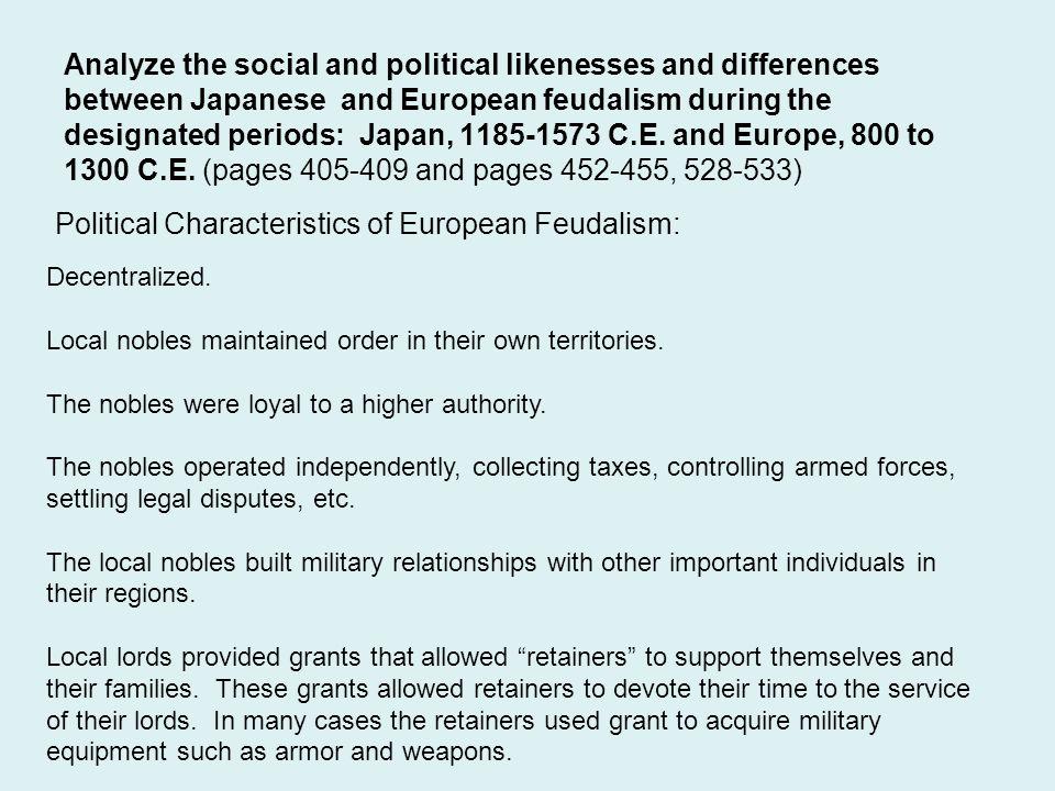 Political Characteristics of European Feudalism: