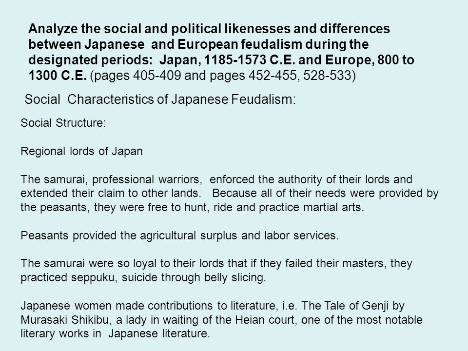 Social Characteristics of Japanese Feudalism: