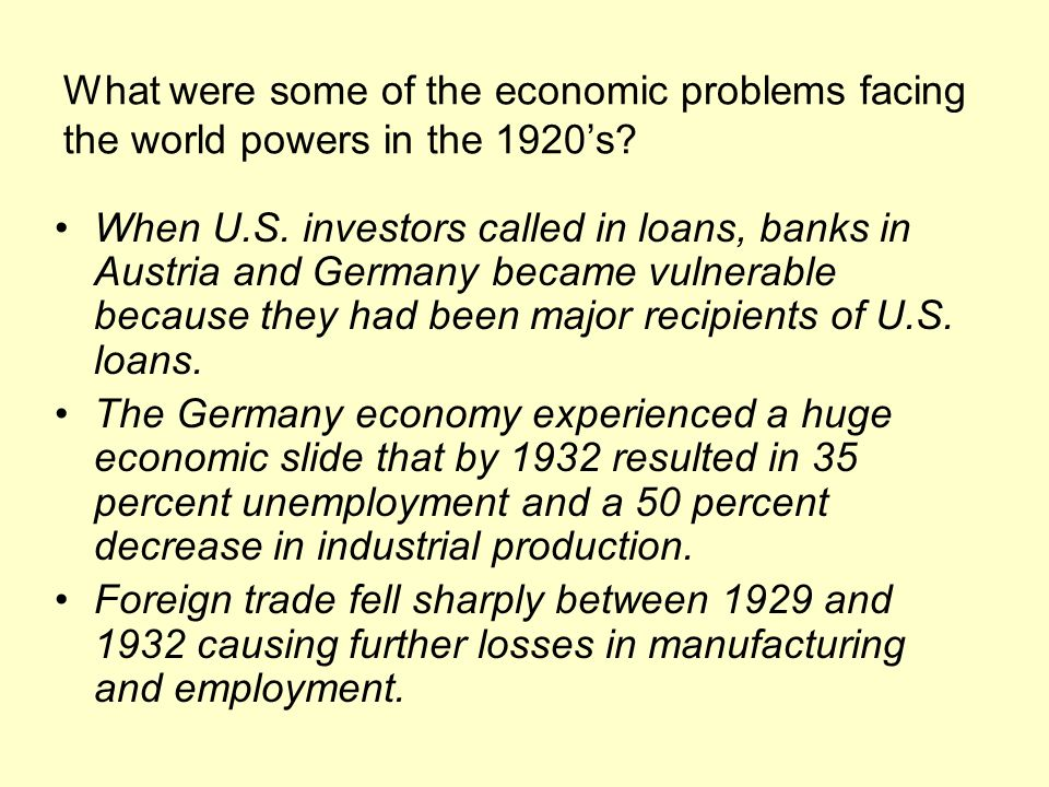 What were some of the economic problems facing the world powers in the 1920's