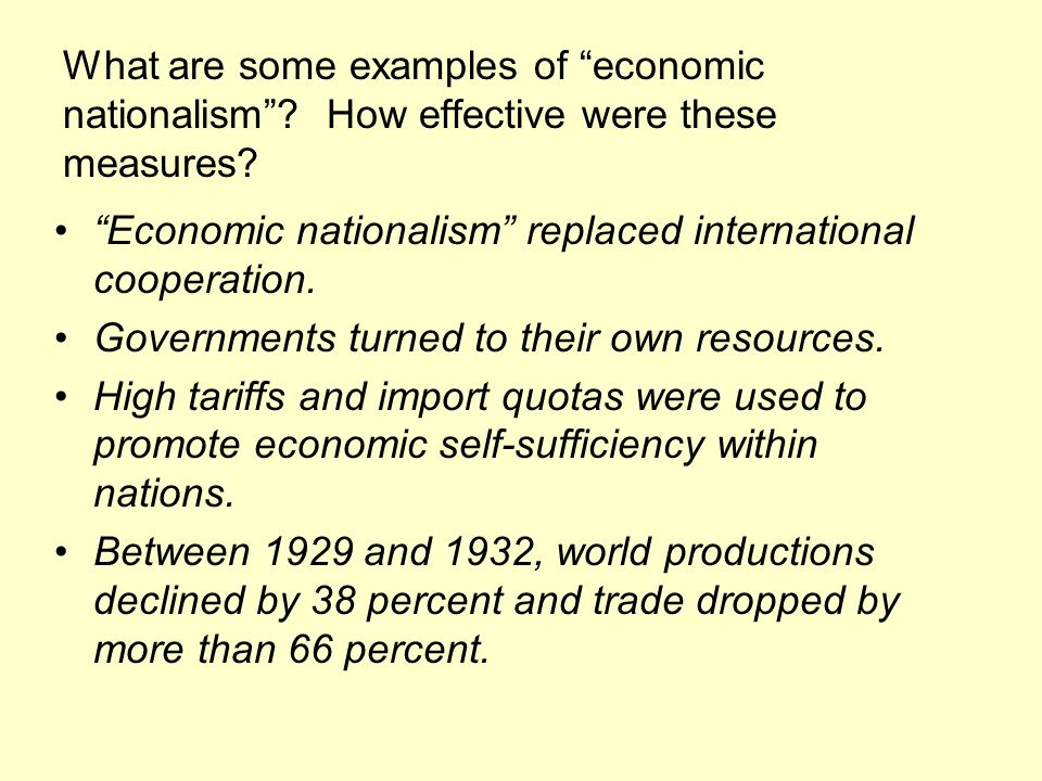 What are some examples of economic nationalism