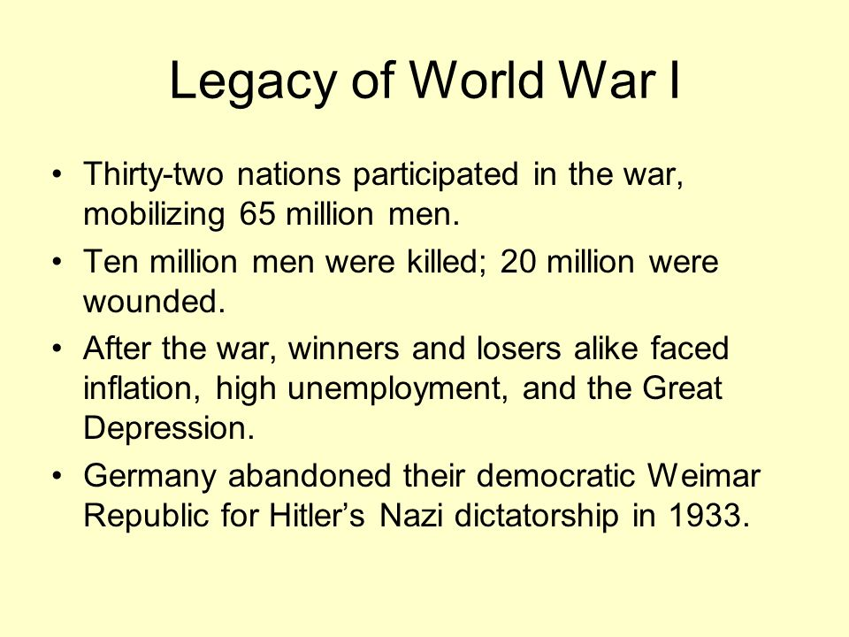 Legacy of World War I Thirty-two nations participated in the war, mobilizing 65 million men. Ten million men were killed; 20 million were wounded.