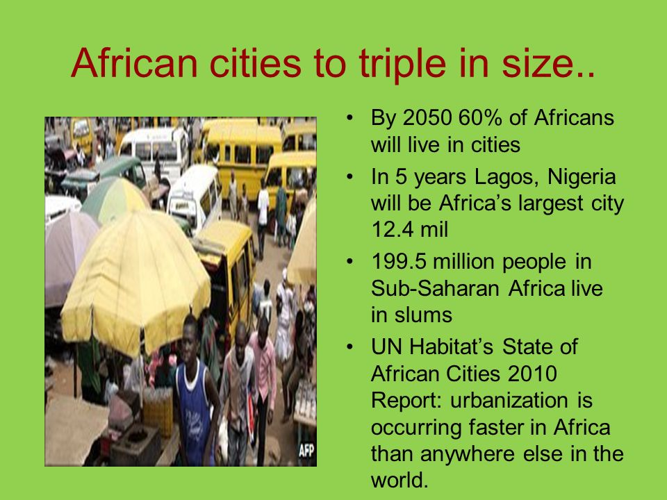 African cities to triple in size..