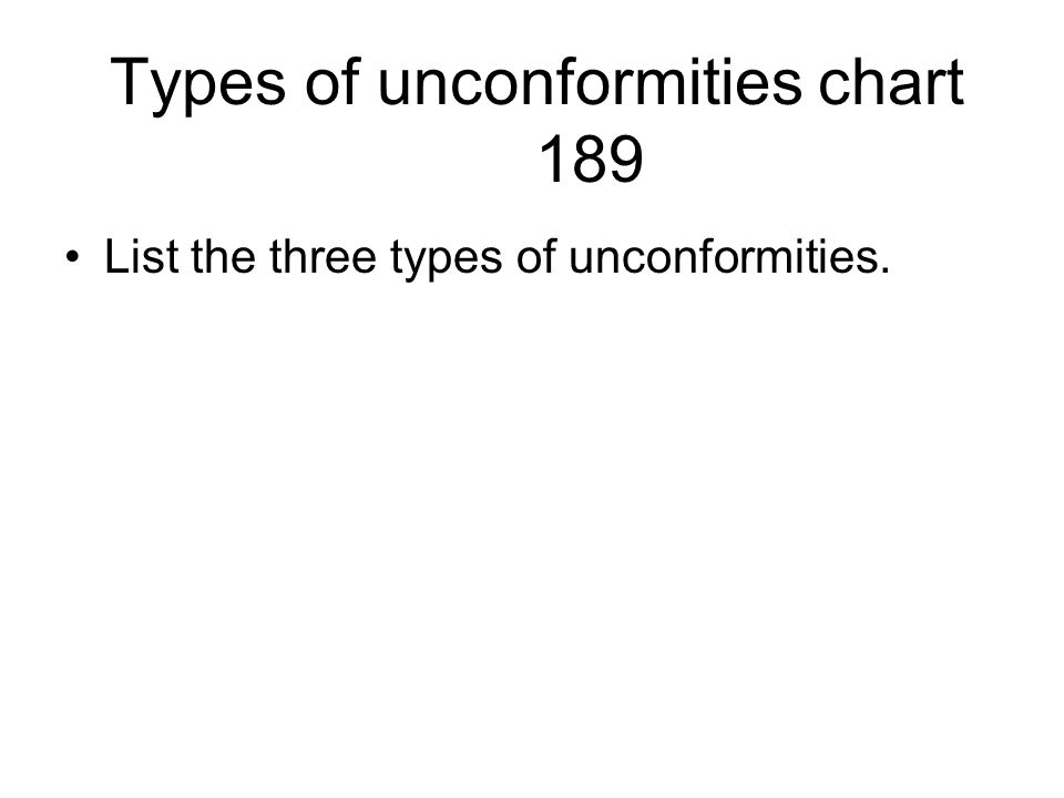 Types of unconformities chart 189