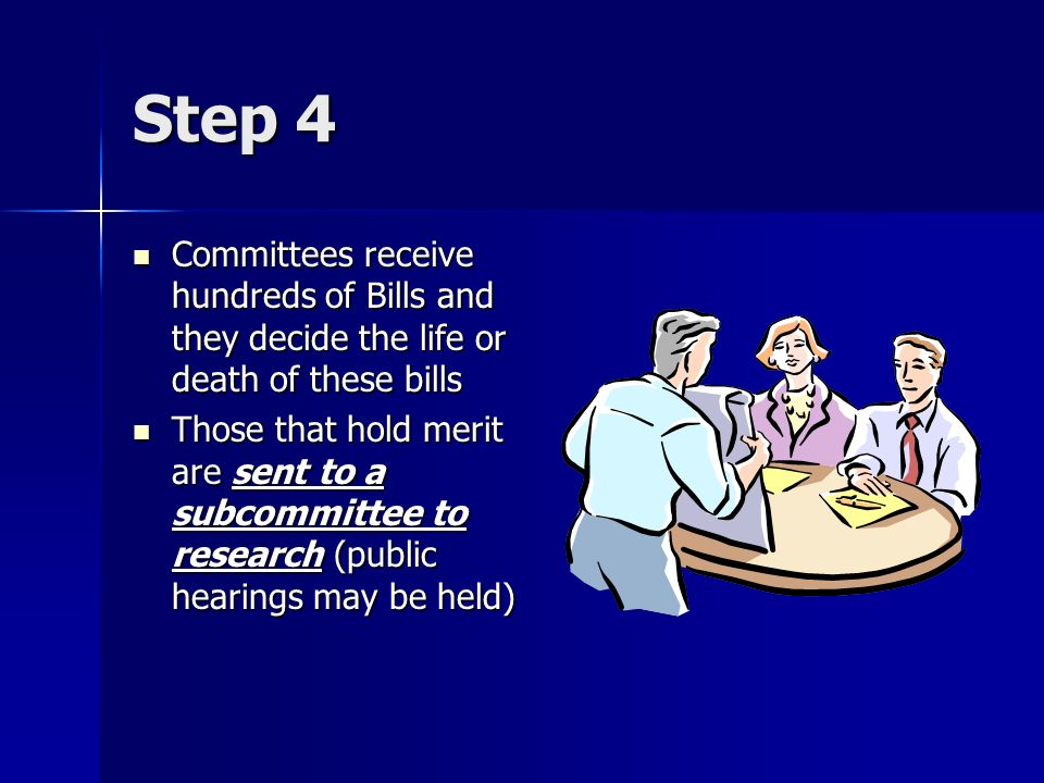 Step 4Committees receive hundreds of Bills and they decide the life or death of these bills.