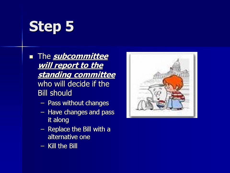 Step 5The subcommittee will report to the standing committee who will decide if the Bill should. Pass without changes.