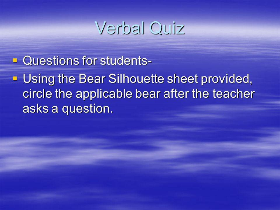 Verbal Quiz Questions for students-