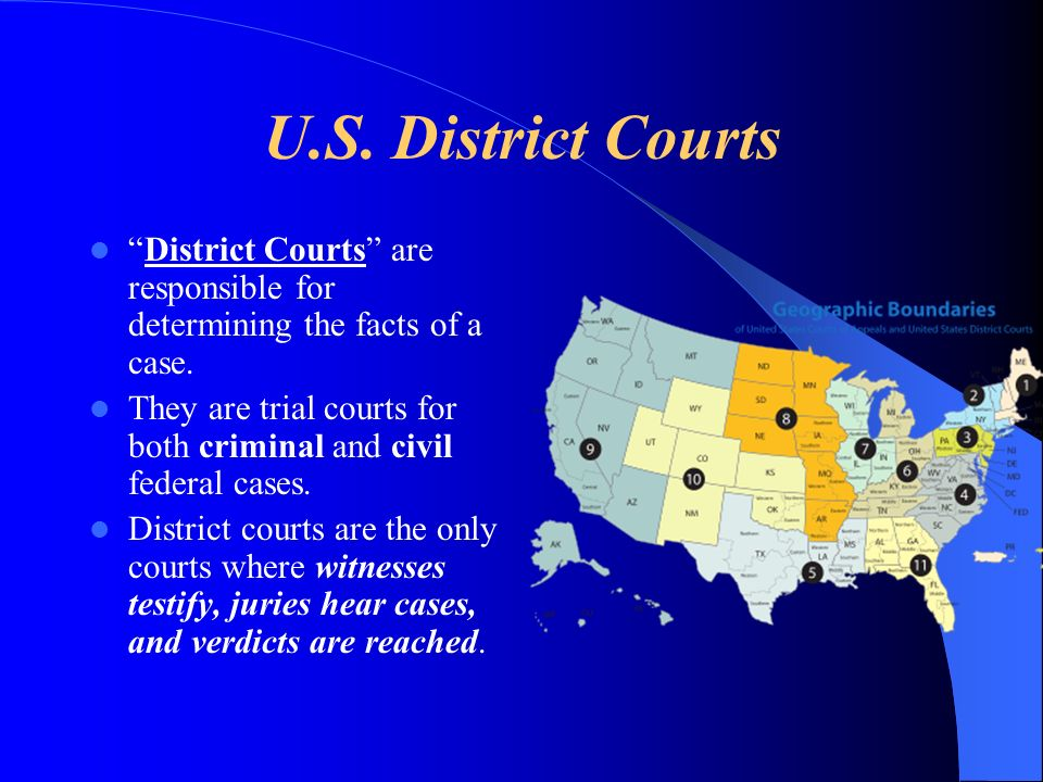 U.S. District Courts District Courts are responsible for determining the facts of a case.