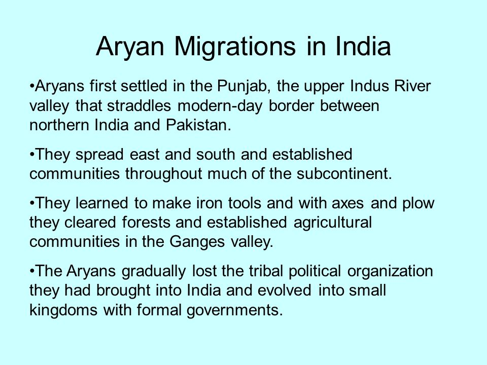 Aryan Migrations in India