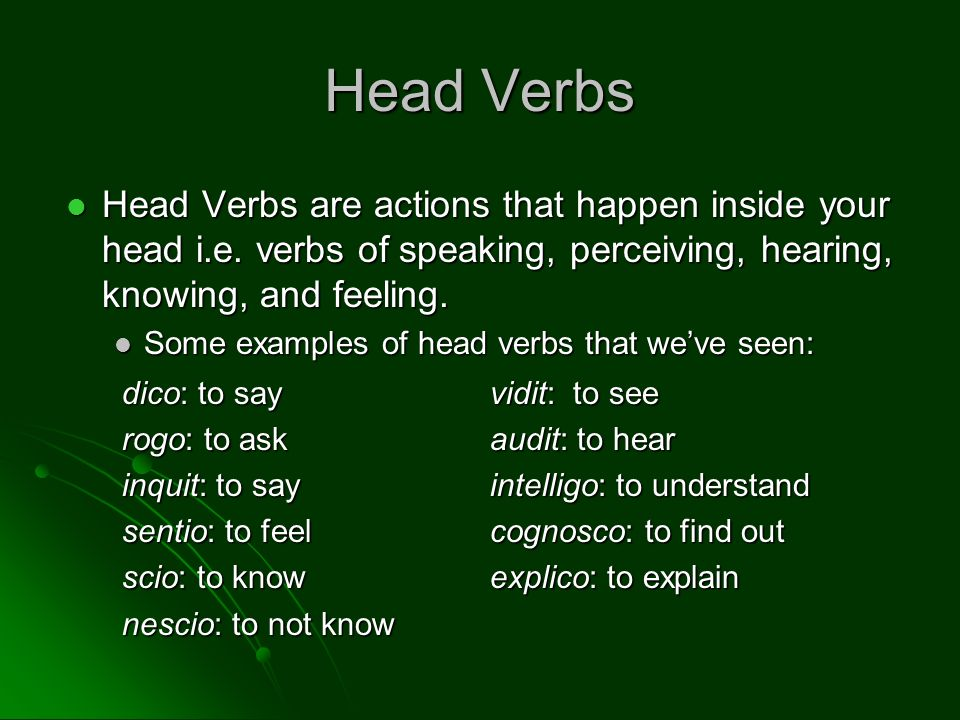 Head Verbs Head Verbs are actions that happen inside your head i.e. verbs of speaking, perceiving, hearing, knowing, and feeling.