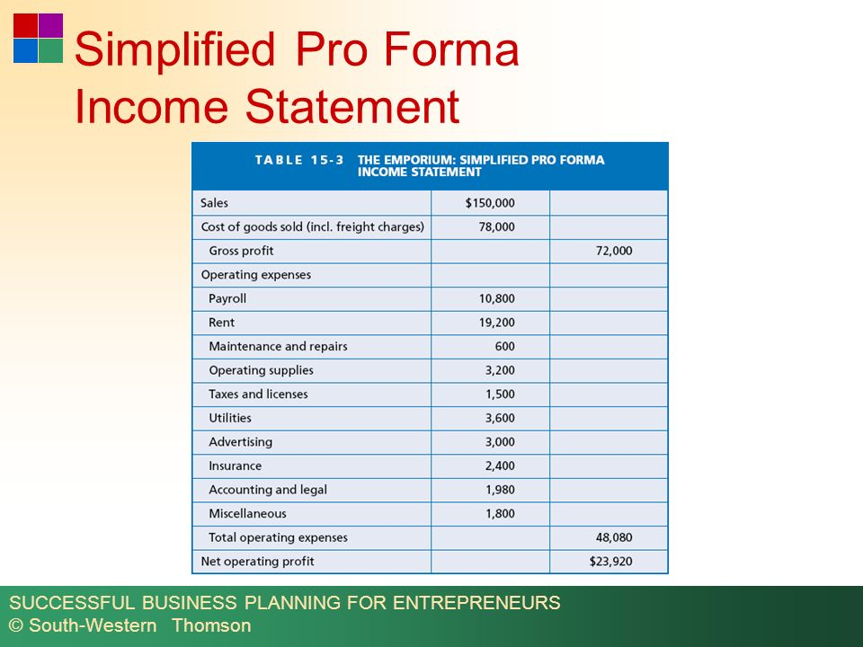 Pro Forma Income Statement  CityEsporaCo