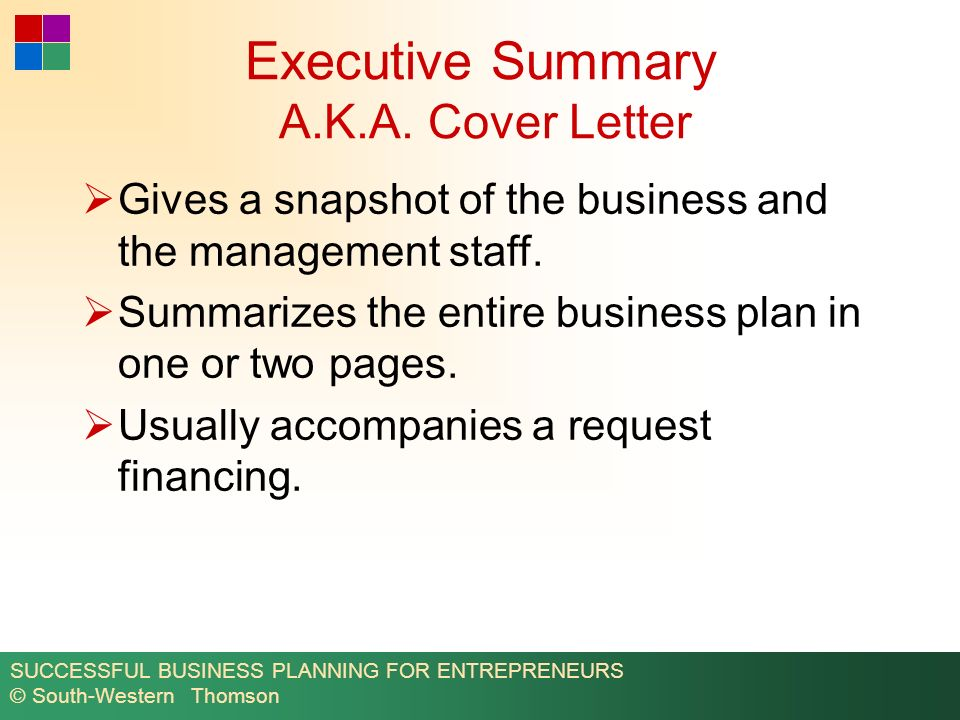 executive summary a k a cover letter