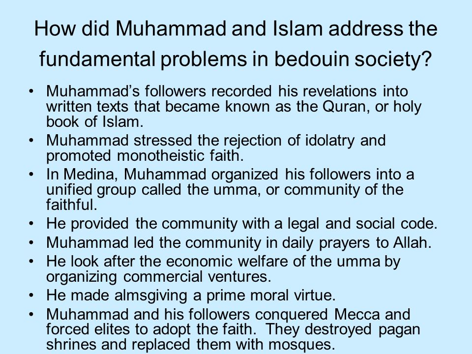 How did Muhammad and Islam address the fundamental problems in bedouin society