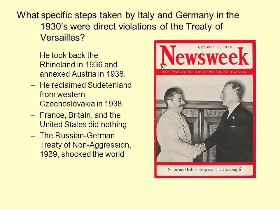 What specific steps taken by Italy and Germany in the 1930's were direct violations of the Treaty of Versailles