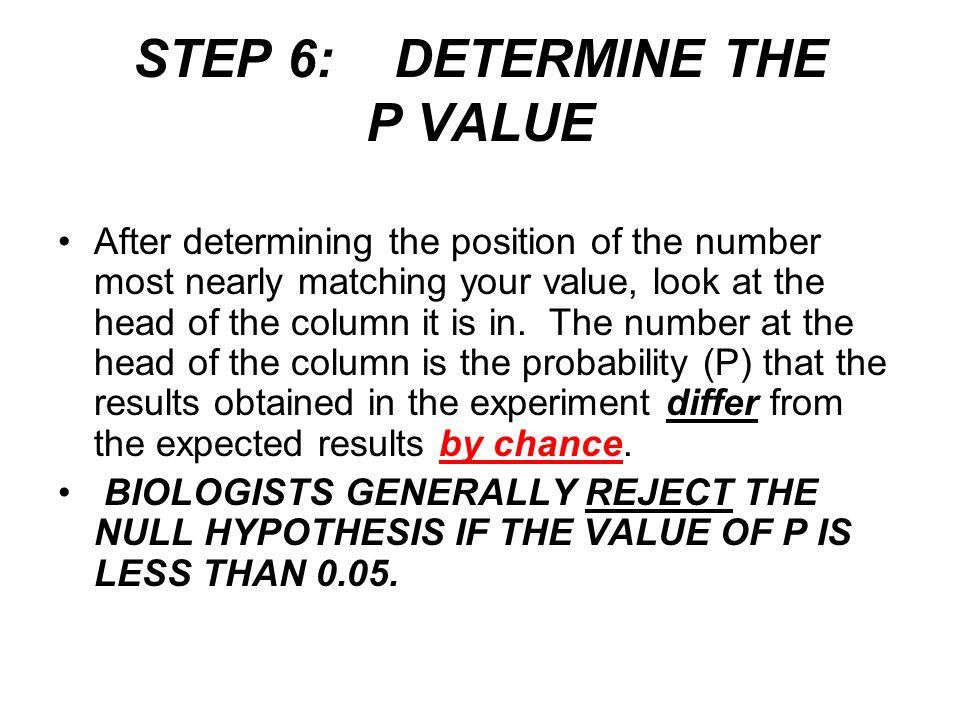 STEP 6: DETERMINE THE P VALUE