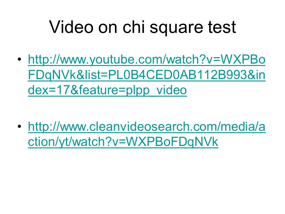 Video on chi square test