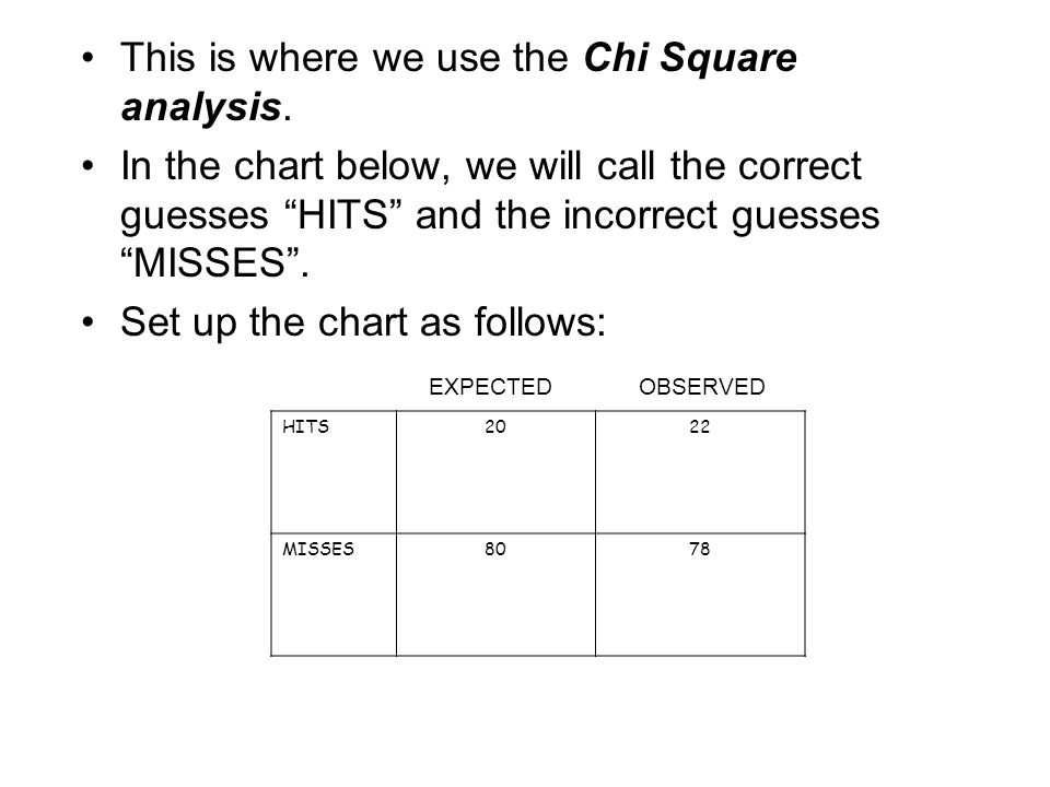 This is where we use the Chi Square analysis.