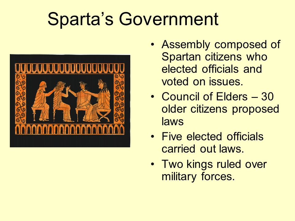 Sparta's Government Assembly composed of Spartan citizens who elected officials and voted on issues.