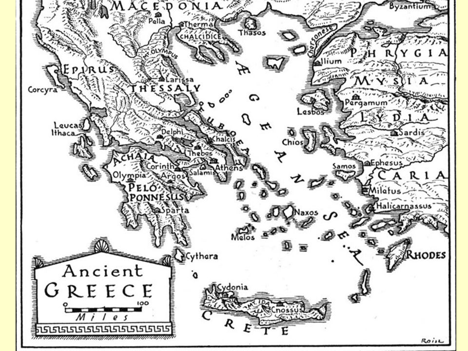Greece – a mountainous peninsula jutting out into the Mediterranean Sea with 2,000 islands. Lands on the eastern edge of the Aegean were also part of ancient Greece. The sea shaped Greek civilization just as rivers shaped the ancient civilizations of Egypt, the Fertile Crescent, India, and China. The Greeks did not really live on a land but around a sea. As Greeks became skilled sailors, sea travel connected Greece with other societies. Sea travel and trade were also important because Greece lacked natural resources such as timber, precious metals, and usable farmland. Mountains cover about ¾ of ancient Greece. Mountain chains runs from NW to SE along the Balkan peninsula. Instead of a single government, the Greeks developed small, independent communities within each little valley and surrounding mountains. Most Greeks gave their loyalty to these local communities. In ancient times, the uneven terrain made land transportation difficult. Of the few roads that existed, most were little more than dirt paths. Most of the land was stony and only a small part of it wa arable. Tiny but fertile valley scovered about ¼ of Greece. The small streams that watered these valleys were not suitable for large scale irrigation projects. With so little fertile farmland or fresh water for irrigation, Greece was never able to support a large population.