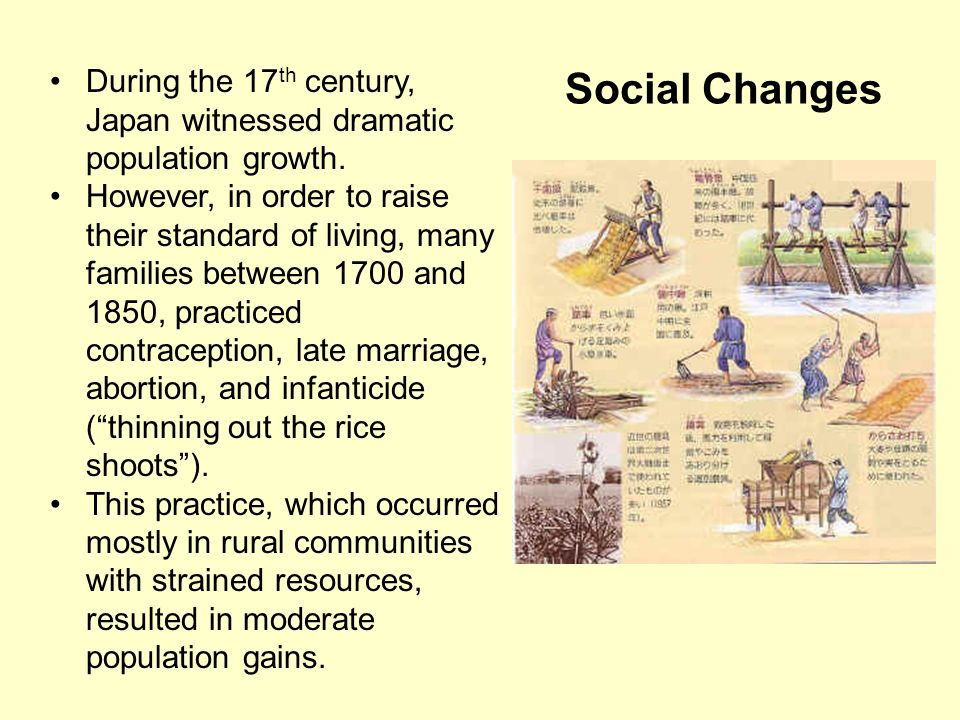 Social Changes During the 17th century, Japan witnessed dramatic population growth.