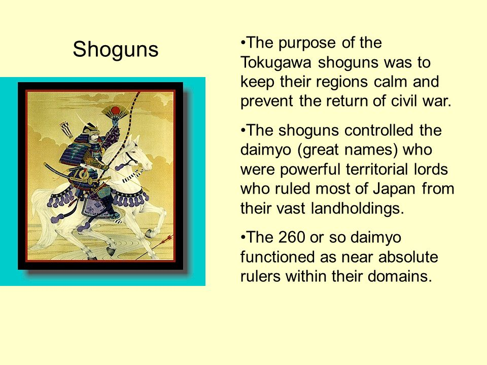 Shoguns The purpose of the Tokugawa shoguns was to keep their regions calm and prevent the return of civil war.