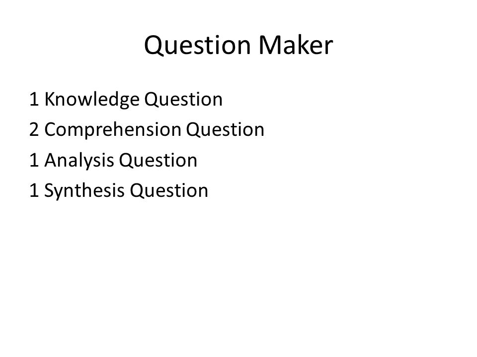 Question Maker 1 Knowledge Question 2 Comprehension Question 1 Analysis Question 1 Synthesis Question