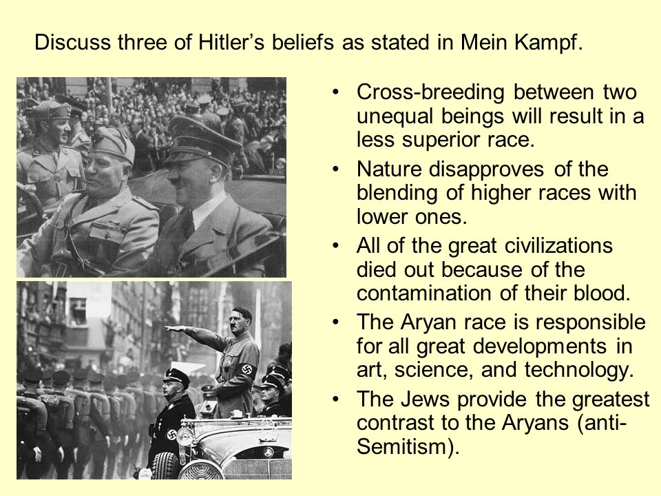 Discuss three of Hitler's beliefs as stated in Mein Kampf.