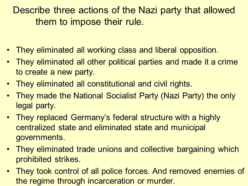 Describe three actions of the Nazi party that allowed them to impose their rule.