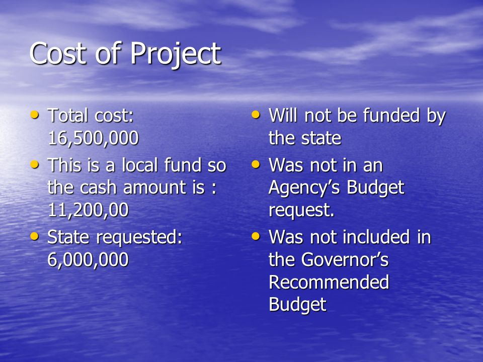 Cost of Project Total cost: 16,500,000