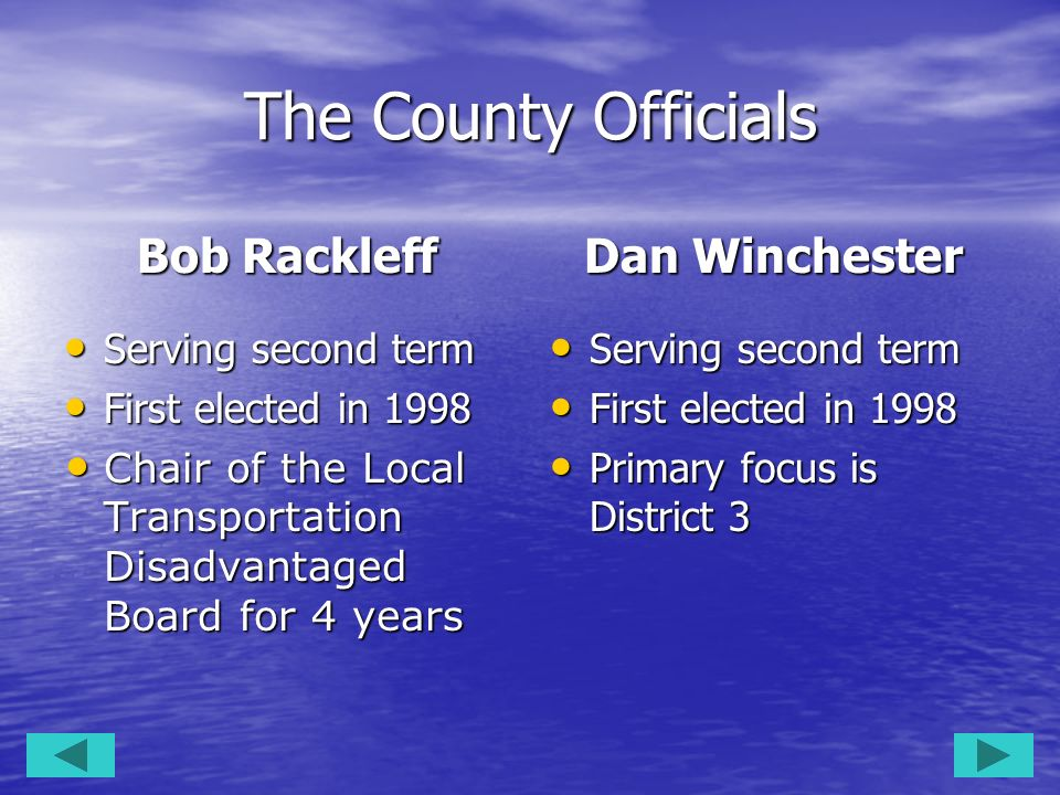 The County Officials Bob Rackleff Dan Winchester Serving second term