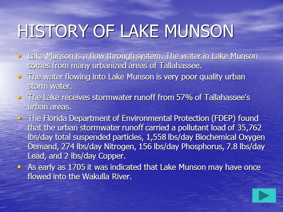 HISTORY OF LAKE MUNSON Lake Munson is a flow through system. The water in Lake Munson comes from many urbanized areas of Tallahassee.