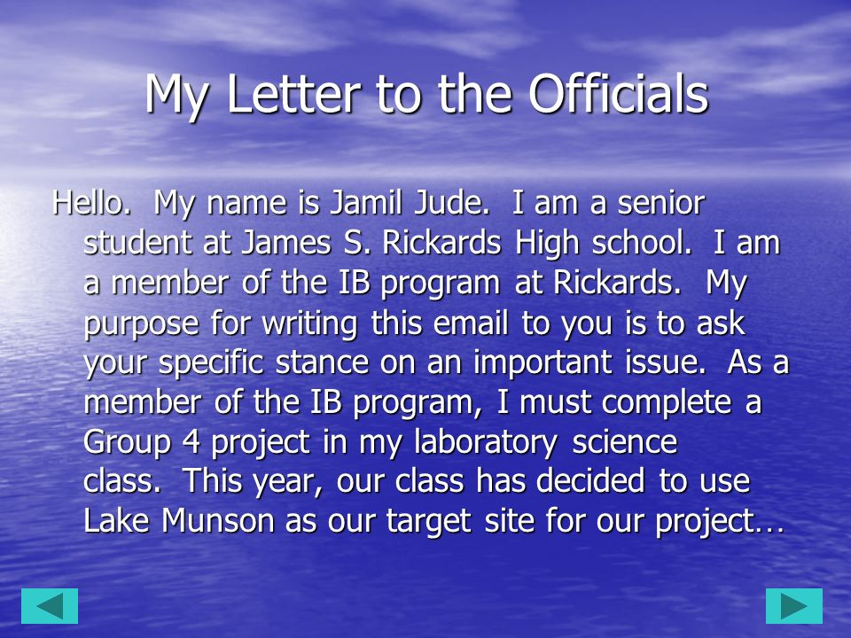 My Letter to the Officials