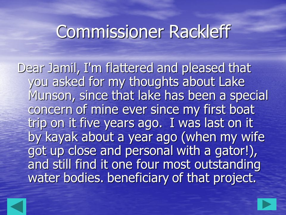 Commissioner Rackleff
