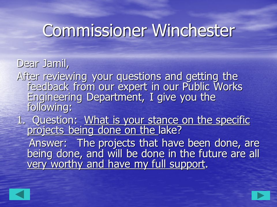 Commissioner Winchester