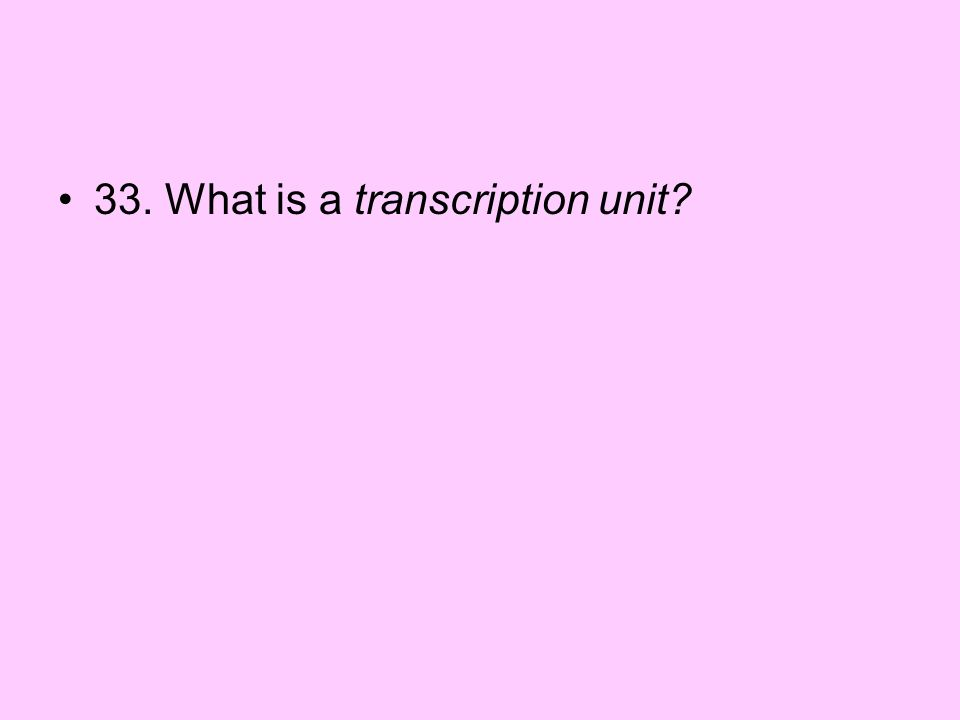 33. What is a transcription unit