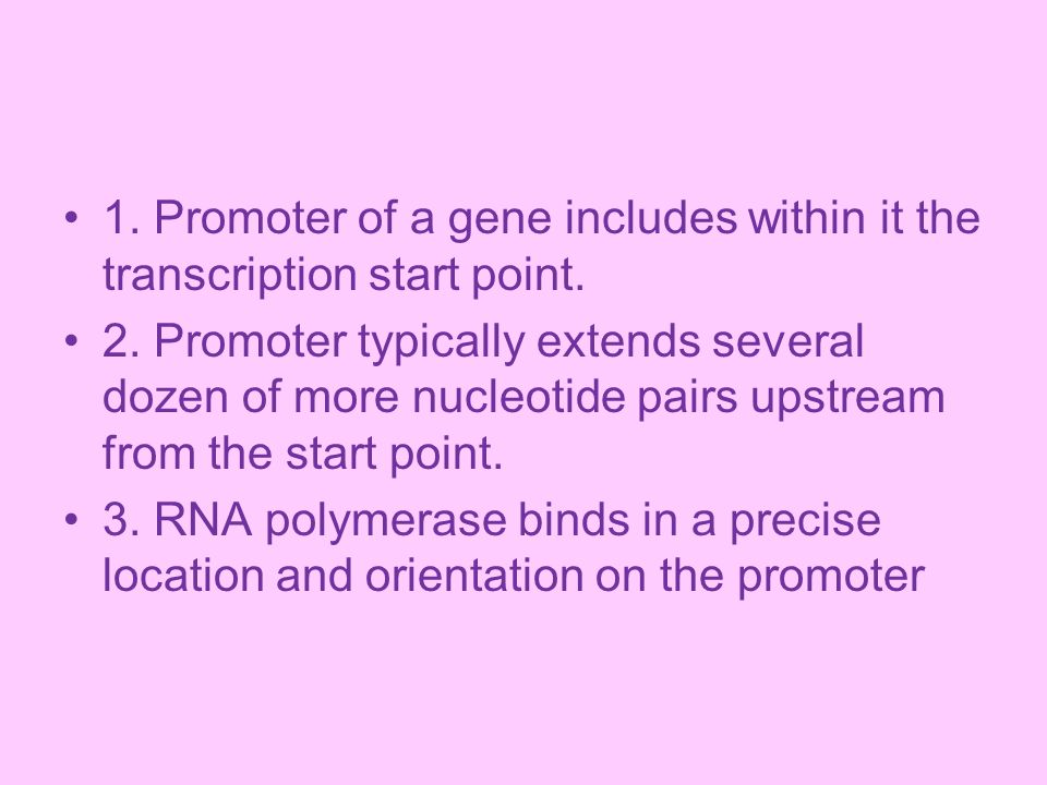 1. Promoter of a gene includes within it the transcription start point.