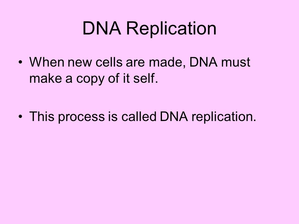 DNA Replication When new cells are made, DNA must make a copy of it self.