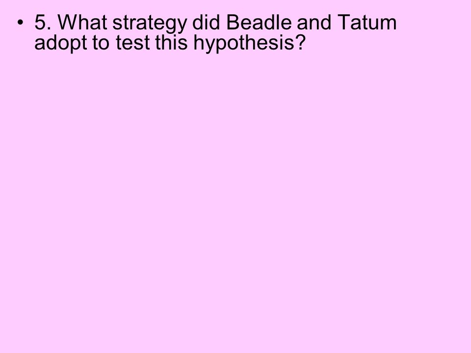 5. What strategy did Beadle and Tatum adopt to test this hypothesis