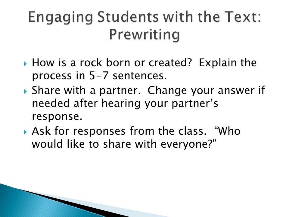 Engaging Students with the Text: Prewriting