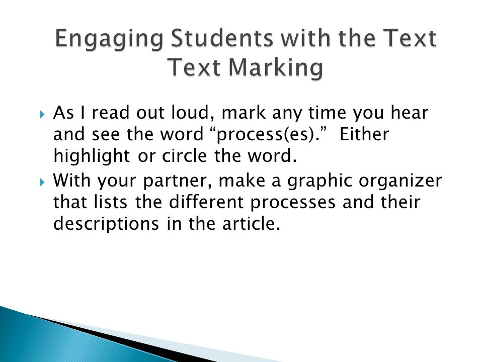 Engaging Students with the Text Text Marking