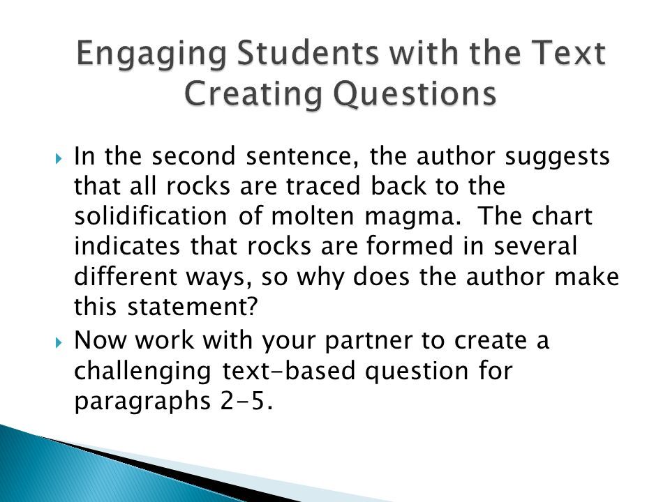 Engaging Students with the Text Creating Questions