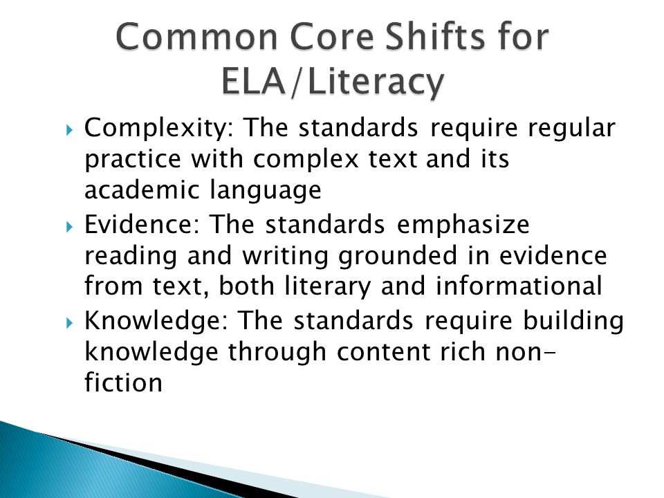 Common Core Shifts for ELA/Literacy