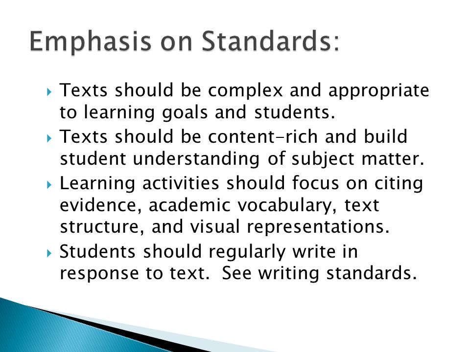 Emphasis on Standards: