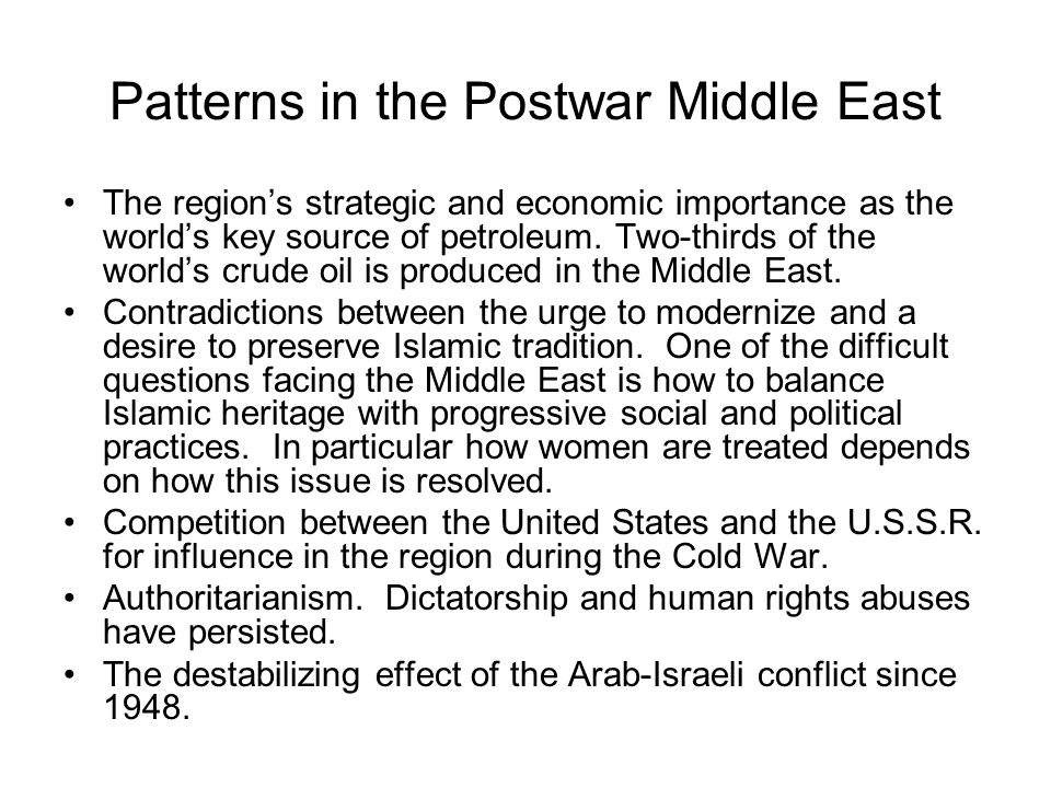 Patterns in the Postwar Middle East