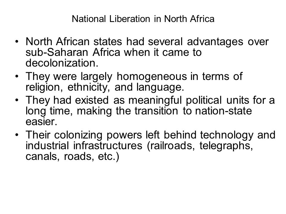 National Liberation in North Africa