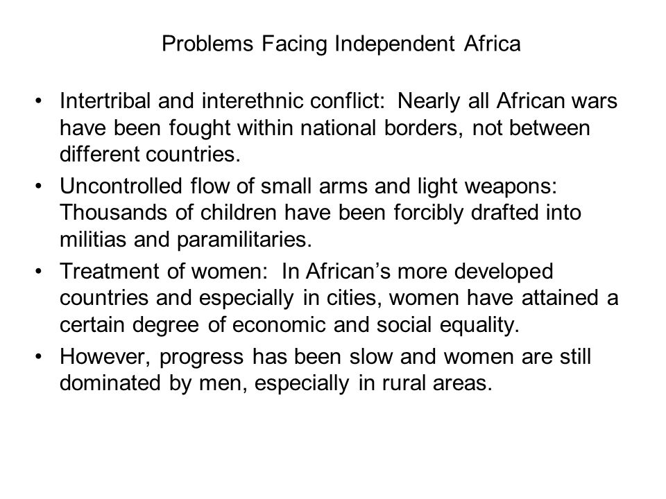Problems Facing Independent Africa
