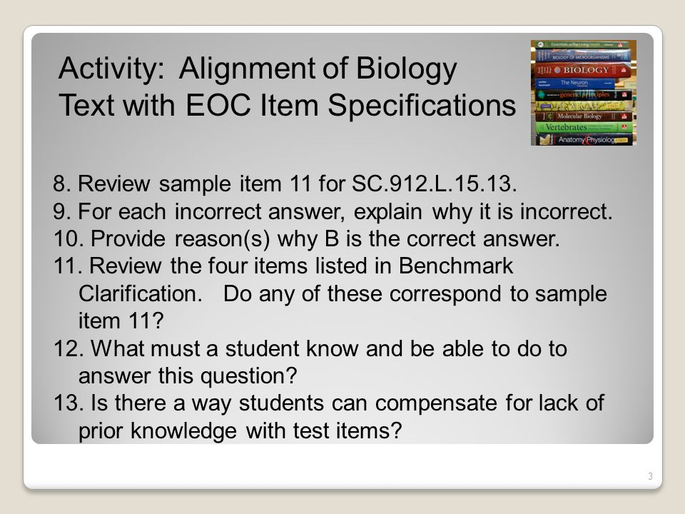 Activity: Alignment of Biology Text with EOC Item Specifications